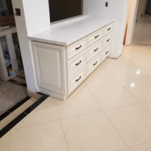 White cabinet with white counter top